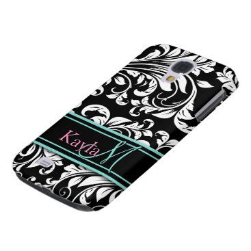 Elegant Black & White Damask Pattern with Monogram Samsung Galaxy S4 Case
