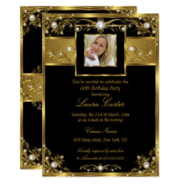 Elegant Black White Gold Pearl Photo Birthday Card