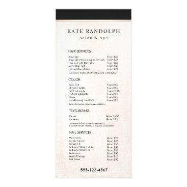 Elegant Black White Marble Salon Price List Menu