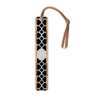 Elegant Black &White Quatrefoil with monogram Bookmark