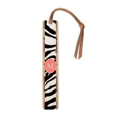 Elegant black & White zebra stripes with monogram Bookmark