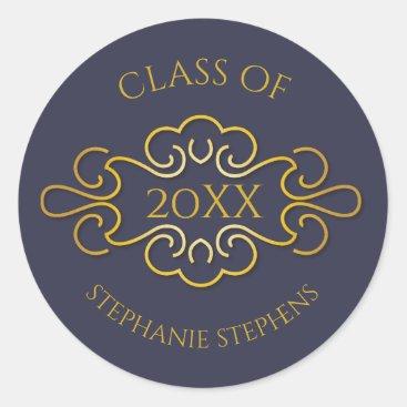 Elegant Blue | Gold Flourish Class of 2018 Name Classic Round Sticker