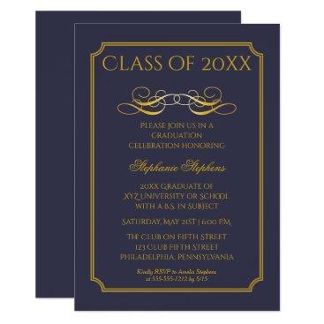 Elegant Blue | Gold University Graduation Party Card