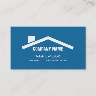 Elegant Blue & Pearl Professional Real Estate Business Card