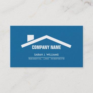 Elegant Blue & Pearl Professional Real Estate Business Card