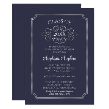 Elegant Blue | Silver College Graduation Party Card