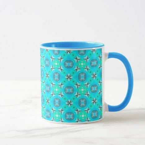 Elegant Blue Teal Abstract Modern Foliage Mug