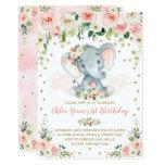 ❤️ Elegant Blush Floral Elephant Girl 1st Birthday Invitation