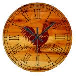Elegant Bon appetit Rooster on Honey Colored Wood Wallclocks