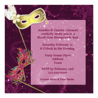 Elegant Burgundy Custom Masquerade Ball Invitation