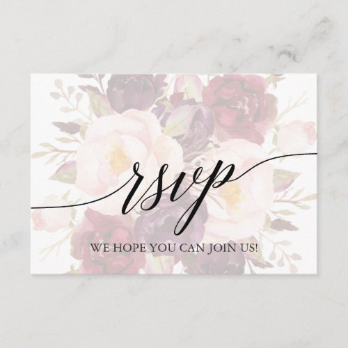 Elegant Calligraphy Floral Song Request RSVP Card