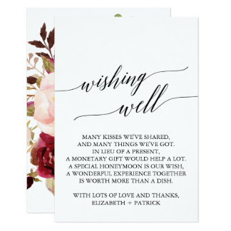 Elegant Calligraphy Fl Wedding Wishing Well Card