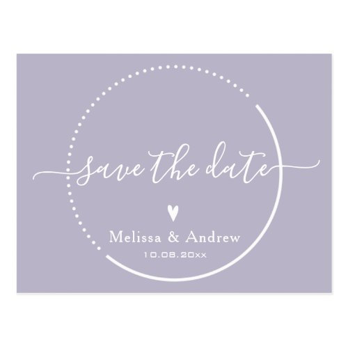 Elegant Calligraphy Lavender Wedding Save the Date Postcard