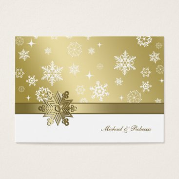 Elegant Champagne and White Winter Snowflake RSVP Business Card