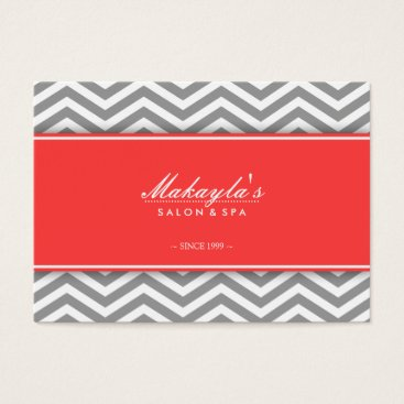 Elegant Chevron Modern Gray & White with Coral Business Card