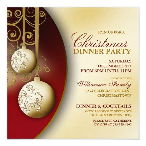 Elegant Christmas Dinner Party Invitation Zazzle