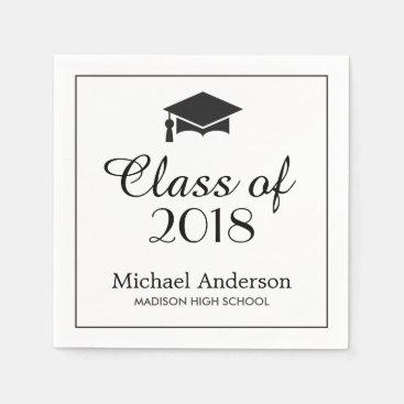 Elegant Class of 2018 Grad Cap Graduation Party Paper Napkin