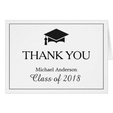 Elegant Classic Black White Graduation Thank You