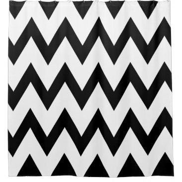 Elegant & Classy Black and White Chevron Patterns Shower Curtain