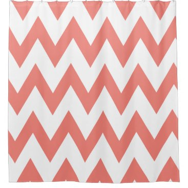 Elegant Coral Pink and White Chevron Patterns Shower Curtain