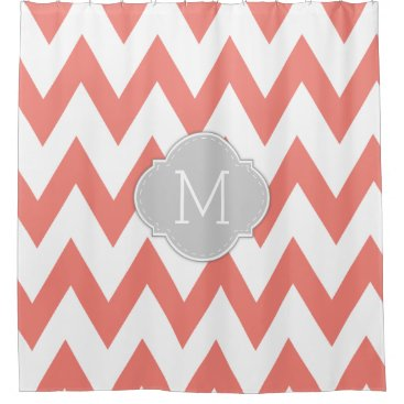 Elegant Coral Pink and White Chevron with Monogram Shower Curtain