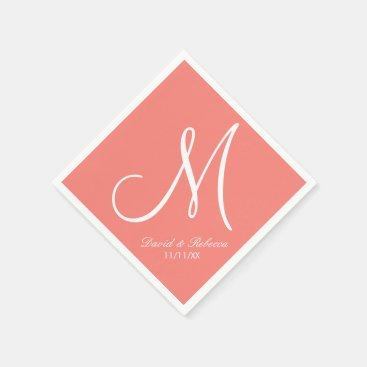 Elegant Coral Pink and White Monogram Paper Napkin