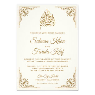 Elegant Cream And Gold Ic Muslim Wedding Invitation