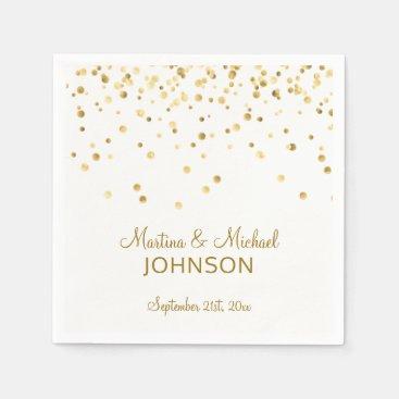 Elegant Custom White Gold Confetti Wedding Napkin