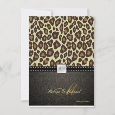 Elegant Damask Leopard Wedding Invitation