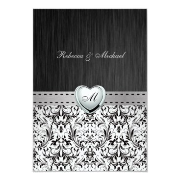 Elegant Damask Monogram Wedding RSVP Card
