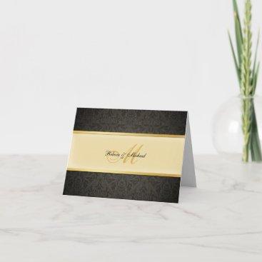 Elegant Damask Monogram Wedding Thank You Card