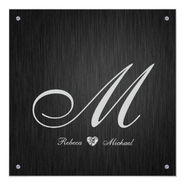 Elegant Diamond Monogram Wedding Invitation