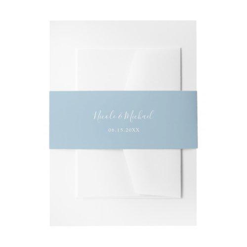 Elegant Dusty Blue Personalized Wedding Invitation Belly Band