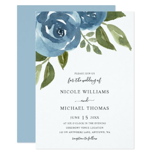 Elegant Dusty Blue Watercolor Floral Wedding Invitation