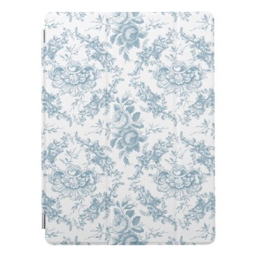 Elegant Engraved Blue and White Floral Toile iPad Pro Cover