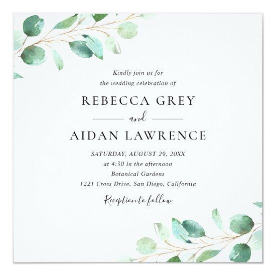 Elegant Eucalyptus Greenery Square Wedding Invitation
