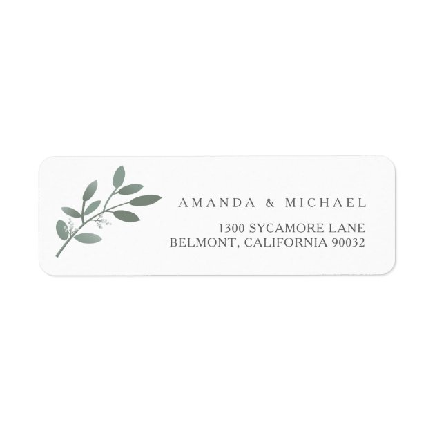 Elegant Eucalyptus Wedding Envelope Return Address Label