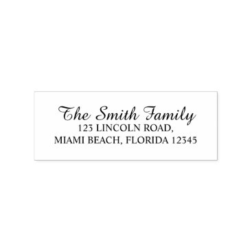 Elegant Family Name Return Address Rubber Stamp