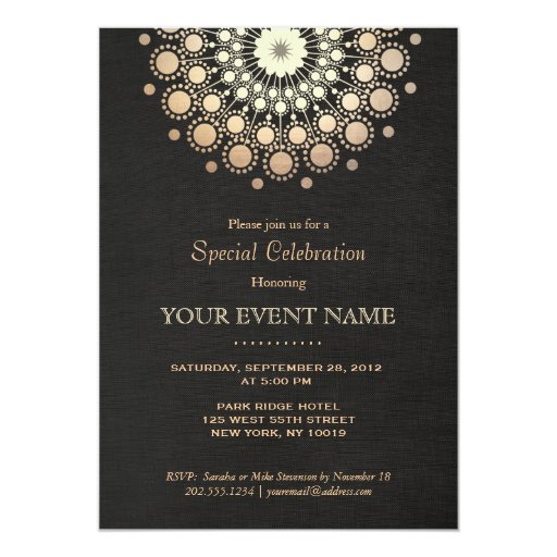 Elegant Faux Gold Foil Circle Motif Black Formal Card