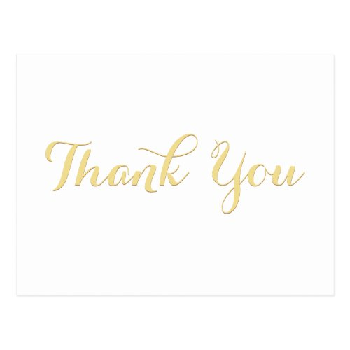 Elegant Faux Gold Script Bridal Shower Thank You Postcard