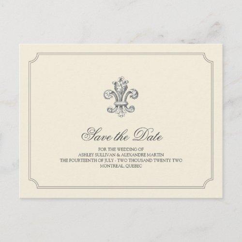Elegant Fleur de Lis Save the Date Announcement Postcard