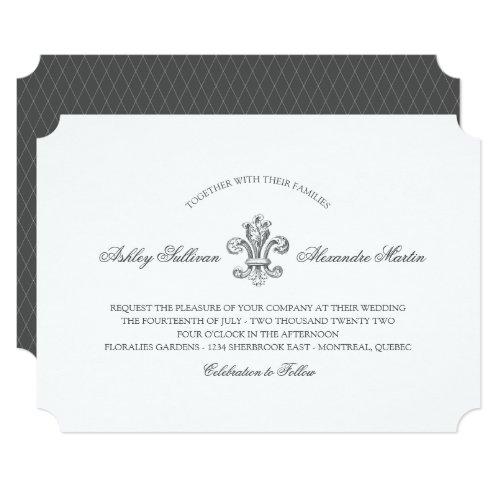 Elegant Fleur de Lis Wedding 3 Invitation