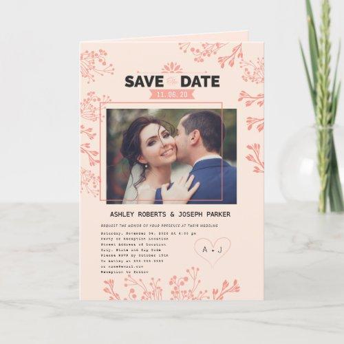 Elegant floral pink Wedding Invitation