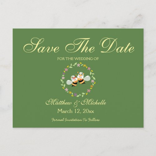 Elegant Floral Wreath Wedding Save The Date Announcement Postcard