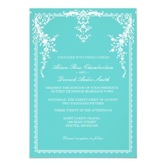 Elegant Formal Wedding Invitation Tiffany Blue