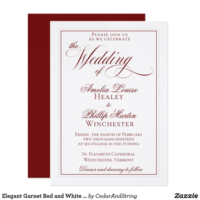 Elegant Garnet Red and White Wedding Invitation