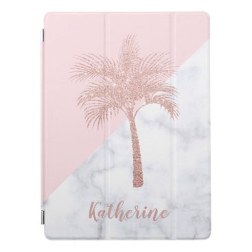 Elegant girly rose gold glitter palm white marble iPad pro cover