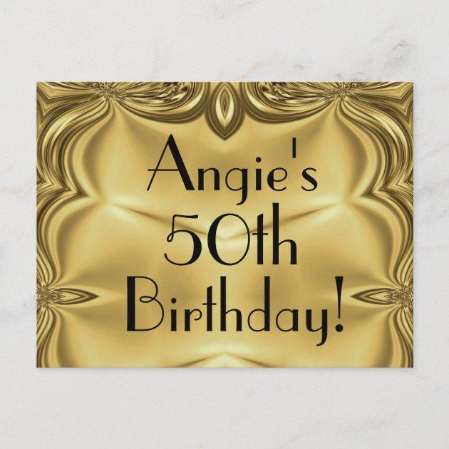 elegant gold 50th birthday invitation postcards zazzle com