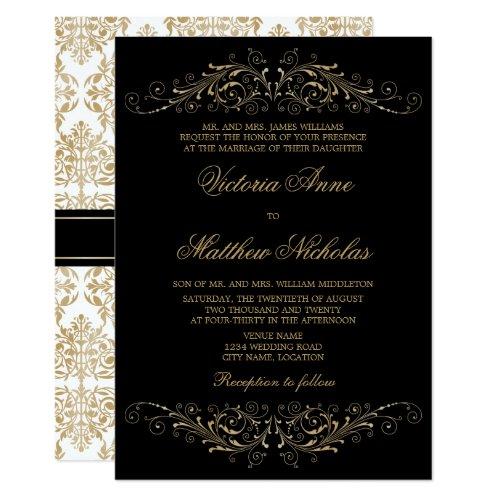 Elegant Gold Color Flourish and Damask Invitation