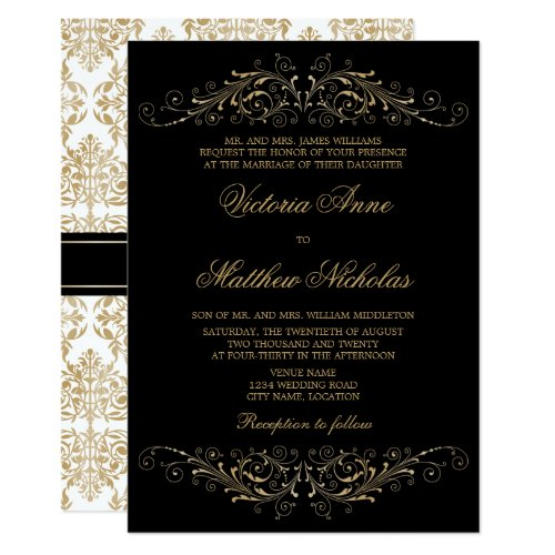 Elegant Gold Color Flourish and Damask Invitation